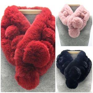 Faux Fur Super Soft Pom Pom Scarves, NWT